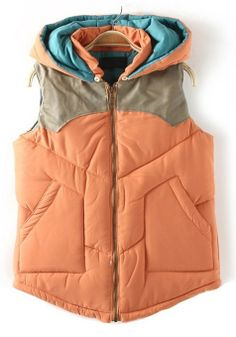 Orange Patchwork Hooded Band Collar Cotton Blend Vest