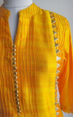 Kurta neck design - Yellow Tussar Kurta with Wine Organza Handwork Dupatta Kurti Sleeves Design, Sleeves Designs For Dresses, Neck Designs For Suits, Kurta Neck Design, Dress Neck Designs, Sleeve Designs, Blouse Designs, Pakistani Fashion Casual, Pakistani Dresses Casual