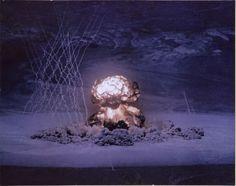 Atomic Bomb Test - Spring, 1955. Nevada test site. (Operai Teapot)