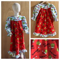 Merry Grinchmas!  Just listed these super cute Grinch Christmas Nightgowns in 2t and 4t.