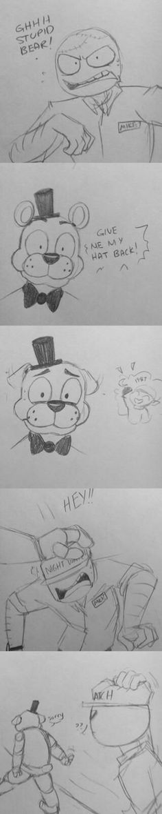 Freddy mind:give the hat back to Mikey now now now now now. I SAID NOW!!!!!!!!!!!!!!!!