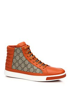 Gucci - GG Supreme Canvas & Leather High-Top Sneakers