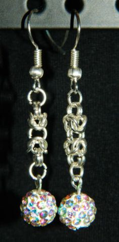 Silver-Chain-Maille-Earrings-NEW-Choose-Gemstones-Faux-Pearls-or-Pave-Crystals