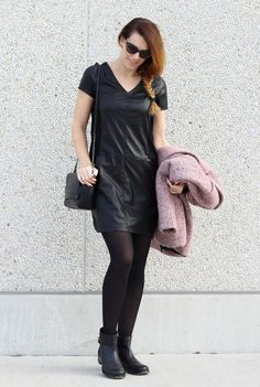Outfit: Casual in leather - Curls and Bags #fetishpantyhose #pantyhosefetish #legs #blogger  #pantyhose #black