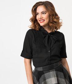 b7a387b7dec4 1940s Style White Chiffon Short Sleeve Neck Tie Blouse | Clothes ...