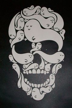 What's spookier than a skull? A skull made of ghosts! (For the Love of Gawd screenprint by Dave the Chimp)