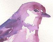 Original artwork, Titled: Fuschia Bird by Jessica Buhman, Pink Purple Red Bird Abstract Minimal