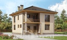 170-005-Л Проект двухэтажного дома, скромный дом из теплоблока
