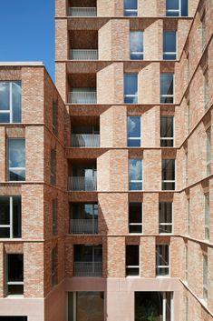 Morris + Company completes Belle Vue retirement homes in Hampstead Concrete Facade, Precast Concrete, Brick Facade, Brick Architecture, Urban Architecture, Public Restaurant, Window Reveal, Hampstead London, Basement Floor Plans