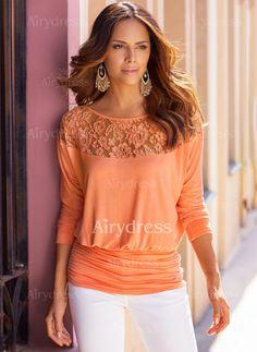 T-shirts - $13.90 - Cotton Solid Boat Neckline 3/4 Sleeves Vintage T-shirts & Vests (1685136848)