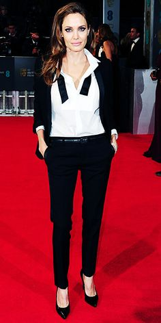 2014 BAFTAs Red Carpet - Angelina Jolie from #InStyle #MyTailorIsFree #menstyle #gentlemen #classy #business #menstyle #fashion #gq #custommade #menstyle #suit #italian #frenchstyle #fashionformen #menswear #suitandties #bowtie #tie #citymen #smartlook #outfit #glamour #tuxedo #redcarpet