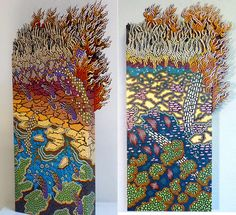 """Terry Hays - Left: """"Grass fire near the Barnett Shale,"""" acrylic on wood and Sintra. 26 x12.5 inches. Right: """"Grass Fire!,"""" acrylic on wood and Sintra. 26 x 12.5 inches."""