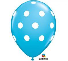 6 Robins Egg Blue  aka Tiffany Blue  and White Polka Dot Latex Balloons | cute - Craft Supplies on ArtFire
