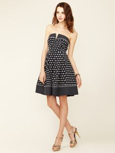 Alexia Admor Polka Dot Structured Strapless Dress- like the mix of fabrics and details
