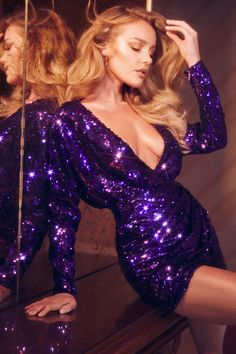 The 'James' dress is made from fluid stretch mesh in a structured silhouette that wraps at the bust and cinches at the waist. The striking Violet hues pop and the sequins shimmer in the light. Fashion Models, Fashion Beauty, Girl Fashion, Fashion Outfits, Womens Fashion, Sequin Dress, Bodycon Dress, Sexy Dresses, Short Dresses
