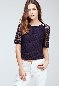#SALE Boxy Floral-Crochet Top | Shop the #SALE at Forever 21