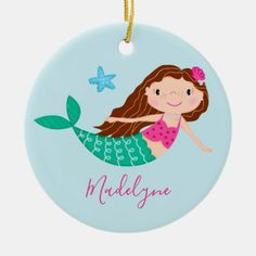Purple Mermaid Christmas Script Name Ceramic Ornament - Xmas ChristmasEve Christmas Eve Christmas merry xmas family kids gifts holidays Santa Christmas Gift Wrapping, Christmas Gifts, Christmas Ornaments, Christmas Eve, Mermaid Gifts, Cute Mermaid, Pastel Blue Background, Mermaid Home Decor, Mermaid Ornament