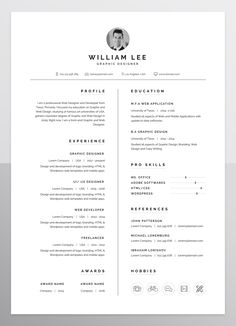 a simple, clean, minimal and professional design of Resume/CV template for people who want to present themselves as a professional. If you like this cv template. Check others on my CV template board :) Thanks for sharing! Template Cv, Simple Resume Template, Resume Design Template, Resume Templates, Portfolio Design, Portfolio Resume, Template Portfolio, Portfolio Ideas, Graphic Design Resume