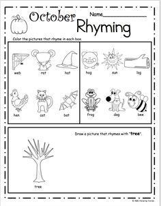 October Rhyming Worksheet – Free literacy building page for Kindergarten and Preschool Use this worksheet as a rhyming assessment page or practice worksheet. Students will color the rhyming … Halloween Math Worksheets, 1st Grade Reading Worksheets, Beginning Sounds Worksheets, Kindergarten Math Worksheets, First Grade Reading, Kindergarten Lessons, Preschool Classroom, Rhyming Worksheet, Rhyming Activities