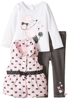 Kids Headquarters Baby Girls' Pink Printed Vest with White Tunic and Pants ** Can't believe it's available, see it now : Baby clothes