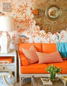 Orange you glad I found this? I want this orange couch for my craft room! Decor, Palm Beach Style, Orange Sofa, Interior, Living Room Orange, Home Decor, The Big Comfy Couch, Interior Design, Orange Couch