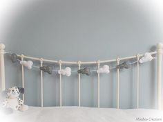Garland - cloud garland - felt cloud garland - mini felt clouds - grey & white clouds - bunting - felt - sequins - child decor - READY NOW by MooBooCreationsShop on Etsy