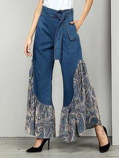 Belted Printed Split-joint Jean Bell-Bottom Material Polyester , Denim Style Loose , A-line , Empire Feature Floral ,. Denim Fashion, Fashion Pants, Fashion Dresses, Womens Fashion, Dope Fashion, Mode Hippie, Mode Jeans, Ruffle Pants, One Piece Swimwear