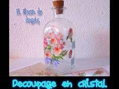 DIY Como decorar con decoupage una botella de cristal - YouTube