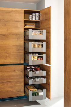 Place there !: Kitchen by Schmidt Kitchens 48 surprising small kitchen design ideas and decor 20 design ideas The roaster kitchen series in the color oyster shell. A modern classic of a … Recycling boxes as kitchen shelves. Kitchen Soffit, Kitchen Pantry Cabinets, Kitchen Cabinet Storage, Storage Cabinets, Home Decor Kitchen, Diy Kitchen, Interior Design Kitchen, Kitchen Ideas, Pantry Ideas