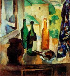 Роберт Фальк. Бутылки у окна, 1917 ...Однажды в студию Фалька зашла его натурщица и будущая жена Раиса Идельсон, увидела эту картину и воскликнула: «Да это же поющие бутылки!»...