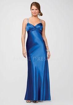 Elastic Silk Like Satin A line Straps Empire Sleeveless Floor Length Prom Dress