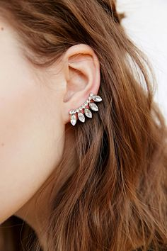 Single Earring Trend: 20 to Buy Now - Delicate Rhinestone Ear Climber Earring ,$20; at Urban Outfitters