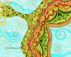 Whimsical Mermaid Tail Illustration -love the doodle #pattern