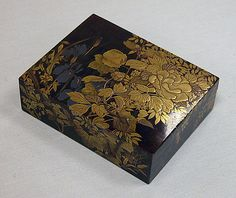 Box for Incense with Design of Peonies, Iris, Morning Glories, and Wisteria, 19th century. Kajikawa School. Meiji period (1868–1912), Japan. The Metropolitan Museum of Art, New York.