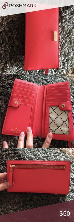 Kate Spade Wallet Gently used wallet. The gold Kate Spade on the front is scratched (shown in picture), but everything else is in overall good condition. kate spade Bags Wallets