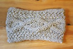 Aran fisherman style knit headband in oatmeal, pure, undyed wool