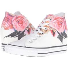 Converse Chuck Taylor All Star Lux Digital Floral Print Mid... ($60) ❤ liked on Polyvore featuring shoes, sneakers, white, white sneakers, pink sneakers, sports shoes, white lace up sneakers and pink shoes