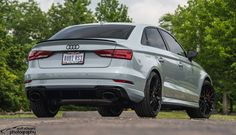 A supercar disguised as an economy sedan? With 400HP and 0-60 acceleration under 4 seconds, #Audi's #RS3 is an understated rocket. Gary's RS3 has an IGL Coatings quartz+ treatment, from Ohio's Asher's Car Detail, and rolls on these 19x8.5/19x9.0 #Forgeline one piece forged #monoblock #ZH1 wheels finished in Gloss Black! See more at: https://forgeline.com/customer-gallery/gary-smith/  Photo by Scott Schwartz Photography.