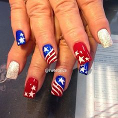 red white blue nail   July 4th nails