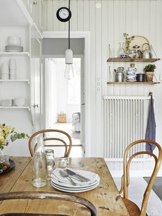 kitchen, home, interior, dining room, simple, white, wood, paneling, shelving, storage, vintage