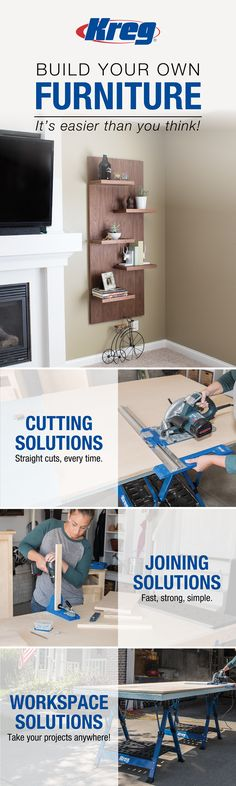 Building your own furniture is easier than you think! Kreg Solutions will help you create quality wood projects for your home. Find all the tools, hardware, and accessories you'll need at kregtool.com/shop. Discover hundreds of free project plans, DIY and woodworking how-to videos at buildomething.com! #buildsomethingwithkreg #kregjig #kregjigproject #diyfurniture #diyproject #diyhomedecor #diydecor #woodworking #woodworkingprojects #woodworkingplans #diy #homeowner