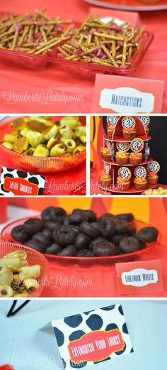 Great food table ideas for fireman / firetruck birthday party!  Menu and free printables included.