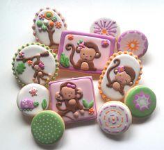 Mia the Monkey Baby Shower Cookies by Custom Cookies by Jill, via Flickr