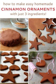 How to make homemade cinnamon ornaments. It's easy, takes just 3 ingredients, and makes your house smell like Christmas! How to make homemade cinnamon ornaments. It's easy, takes just 3 ingredients, and makes your house smell like Christmas! Noel Christmas, Diy Christmas Ornaments, Winter Christmas, Holiday Crafts, Holiday Fun, Gingerbread Ornaments, Holiday Recipes, Homemade Christmas Decorations, Yule