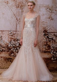 Blush embellished tulle modified trumpet gown with illusion cap sleeves, keyhole back