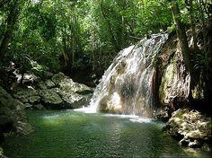 Hot waterfall at Agua Caliente, Finca El Paraíso, in Guatemala's Lake Izabal/Rio Dulce area