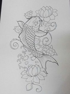Resultado de imagen para backgrounds for koi fish tattoos Japanese Koi Fish Tattoo, Koi Fish Drawing, Japanese Tattoo Designs, Fish Drawings, Tattoo Drawings, Japanese Tattoos, Tattoo Sketches, Kunst Tattoos, Body Art Tattoos