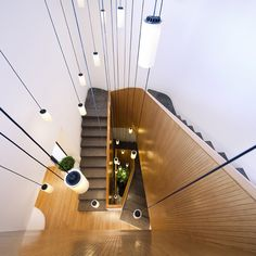 Nice staircase and cluster of lights. Cirio multiple waterfalls designed by Antoni Arola. Project in Kuwait.