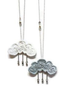 Rain Cloud Necklace - pale blue with Silver Raindrops
