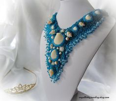 Seed bead necklace Sea Queen handmade by RoyalKittyJewelry Seed Bead Necklace, Seed Beads, Crochet Necklace, Beaded Necklace, Handmade Jewelry, Unique Jewelry, Handmade Gifts, Sea Queen, Ocean